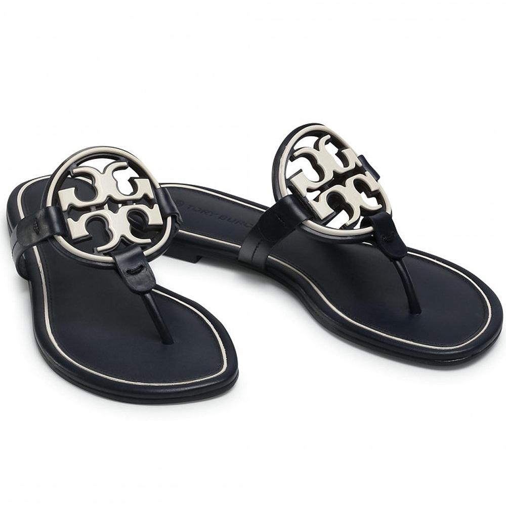 TORY BURCH Miller 品牌LOGO雙T盾牌夾腳涼鞋(黑夜藍)