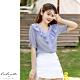 艾米蘭-荷葉V領條紋上衣-藍-(S-2XL) product thumbnail 1