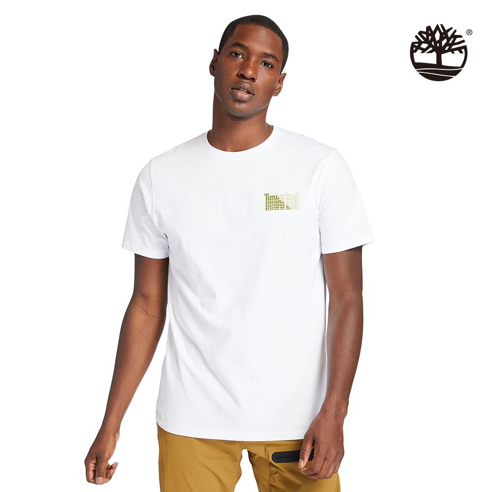 Timberland 男款白色雙面Stacke Logo印花有機棉短袖T恤 A253Q