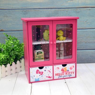 Hello Kitty 凱蒂貓 繽紛玩美 透明磁吸雙拉門 抽屜櫃 收納櫃 置物櫃 桌上收納