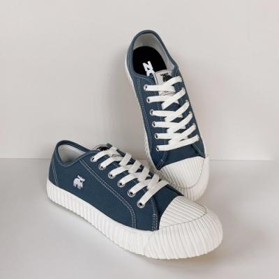 moz瑞典 駝鹿綁帶式帆布餅乾鞋(普魯士藍)