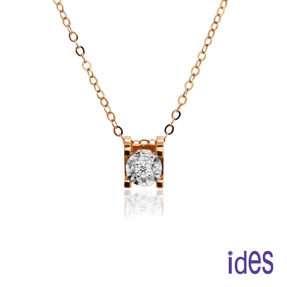 ides愛蒂思 日本輕珠寶玫瑰金系列鑽石項鍊/極致18K