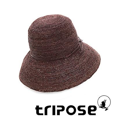 tripose 經典優雅-100%手工Raffia時尚遮陽草帽-帽簷-10cm(咖啡色)