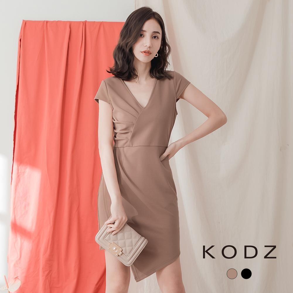 東京著衣-KODZ 極簡高雅抓皺造型不規則下擺洋裝-S.M.L(共二色)