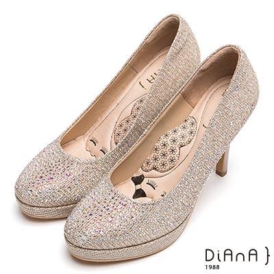 DIANA 漫步雲端瞇眼美人款-奢華閃耀水鑽時尚跟鞋-金