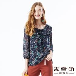 【麥雪爾】荷葉蝴蝶結花朵塗鴉打摺雪紡上衣