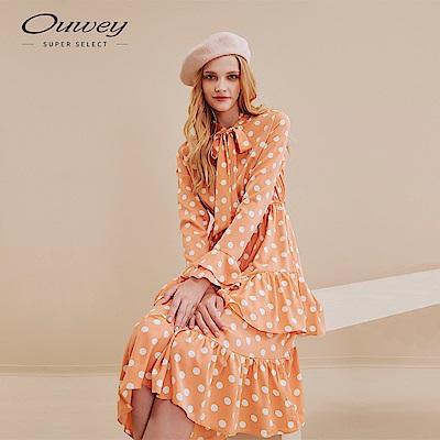 OUWEY歐薇 俏麗波點印花蛋糕洋裝(桔)