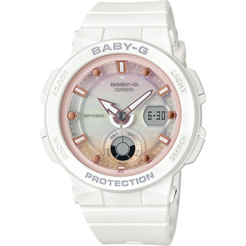 BABY-G 海水正藍指針數位雙顯女錶-白X漸層粉(BGA-250-7A2)/30mm