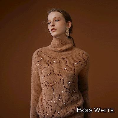 Bois White- 蓬鬆亮片貂絨高領毛衣-咖/杏