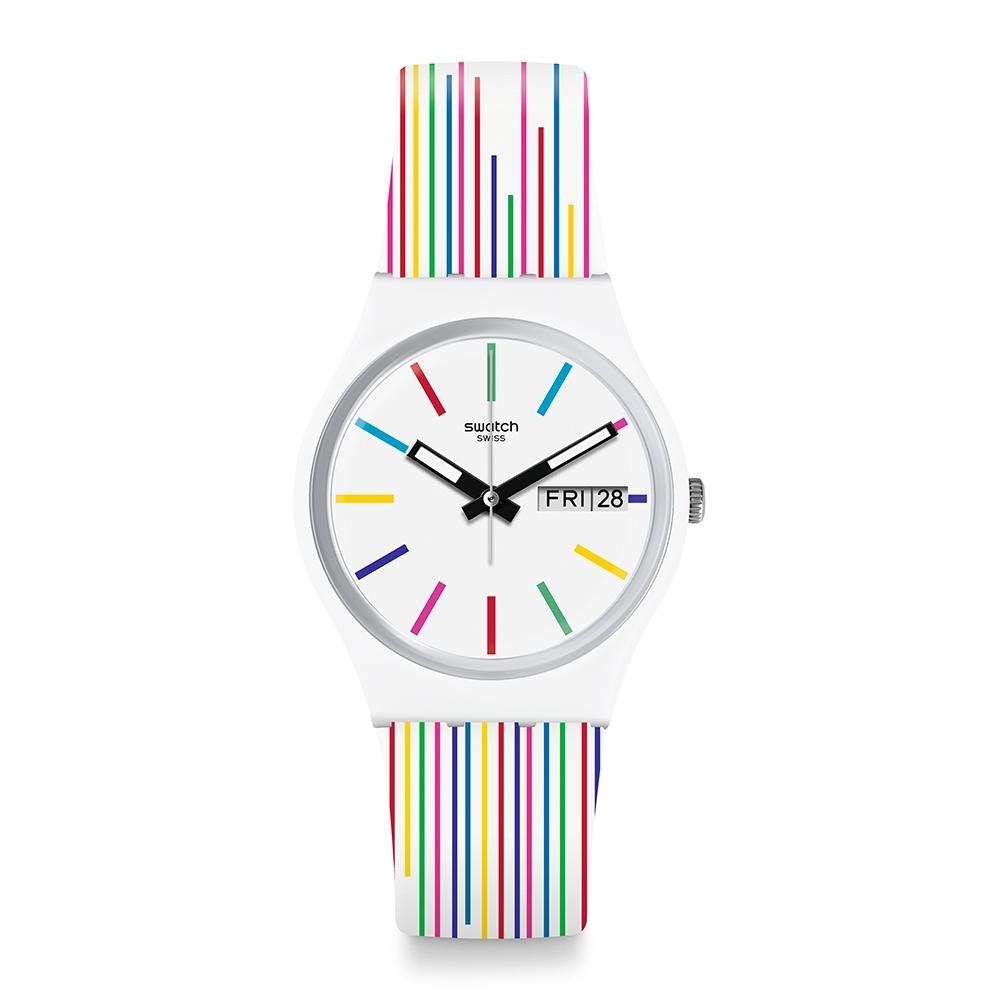 Swatch  I love your folk系列手錶 WHITE SAMBA 七彩紋路