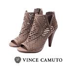 VINCE CAMUTO-ALLISTAN 古典簍空露趾美型高跟踝靴-絨灰色