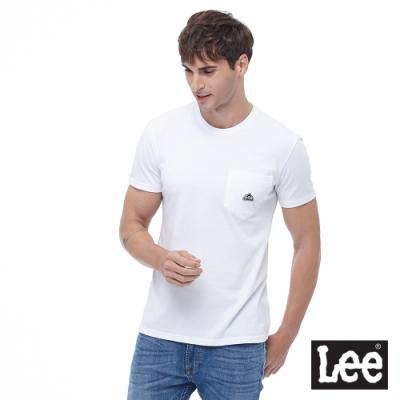 Lee 短T 口袋LOGO織標 圓領 男 白