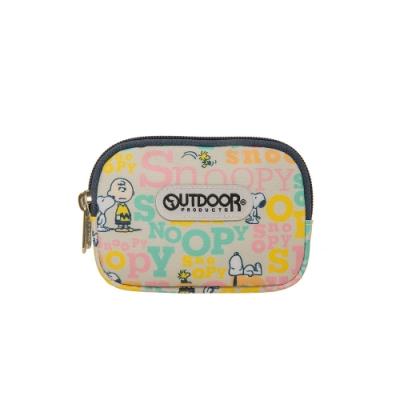 【OUTDOOR】SNOOPY聯名款字母版雙拉鍊零錢包-奶茶色 ODP19E06BE