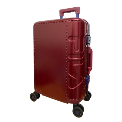 FILA 20吋類皮革印象終極版鋁框箱-酒紅色