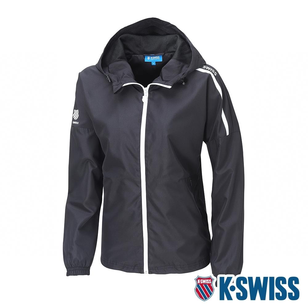 K-SWISS Solid Windbreaker抗UV風衣外套-女-黑