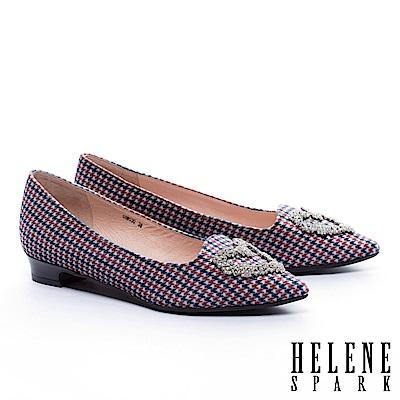 低跟鞋 HELENE SPARK 復古華麗心型白鑽飾千鳥紋絨布低跟鞋-橘