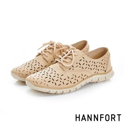 HANNFORT ZERO GRAVITY真皮雕花輕量牛津氣墊鞋 女 溫感杏