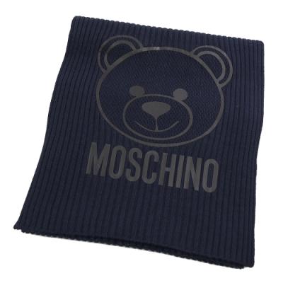 MOSCHINO塗漆大臉熊熊羊毛長圍巾(深藍 )