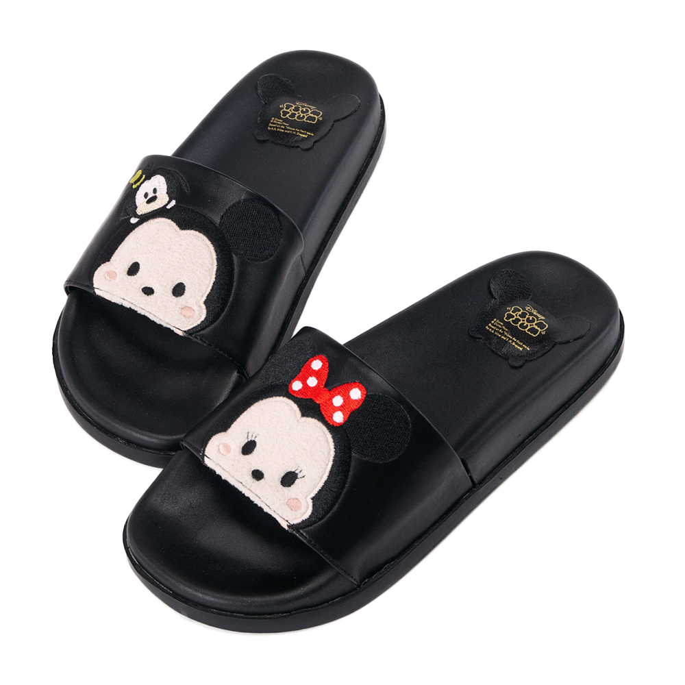 Disney collection by grace gift一字寬版休閒拖鞋米奇黑
