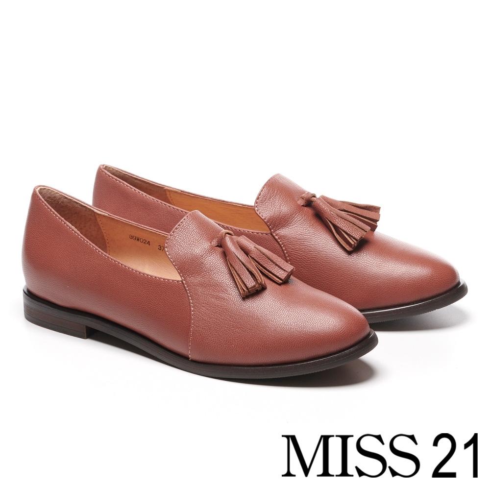 低跟鞋 MISS 21 復古學院風流蘇造型全真皮樂福低跟鞋-粉