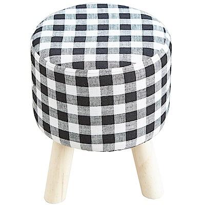 澄境 格紋造型亞麻布實木腳沙發椅凳