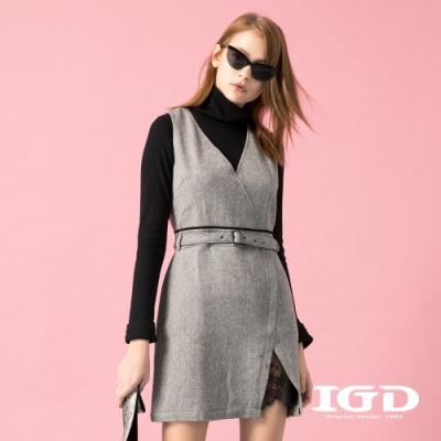 【IGD 英格麗】交疊式羊毛腰帶洋裝