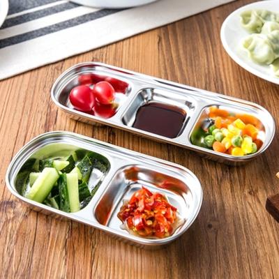 Conalife  優質304不銹鋼加厚加深多格醬料小菜碟 (3入組)