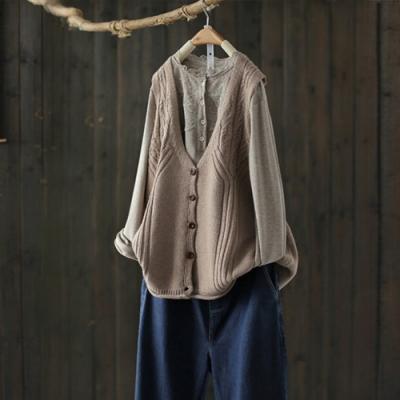 卷邊無袖針織衫馬甲外套上衣休閒背心馬夾毛衫-設計所在