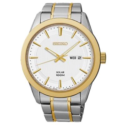 SEIKO精工   谷中銀座經典半金太陽能石英腕錶(SNE364P1)-白面x42.5mm