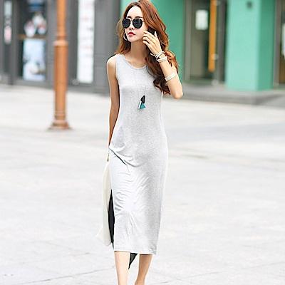 正韓 純色圓領無袖連身洋裝 (共二色)-N.C21