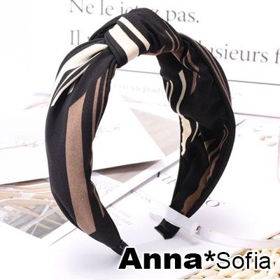 【滿額再7折】AnnaSofia 韻律長曲中央結 韓式寬髮箍(黑底系)