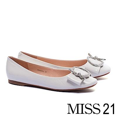 平底鞋 MISS 21 細緻典雅奢華晶鑽圓飾釦全真皮平底鞋-白