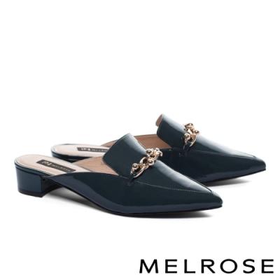 穆勒鞋 MELROSE 質感率性金屬飾釦漆皮尖頭低跟穆勒拖鞋-藍
