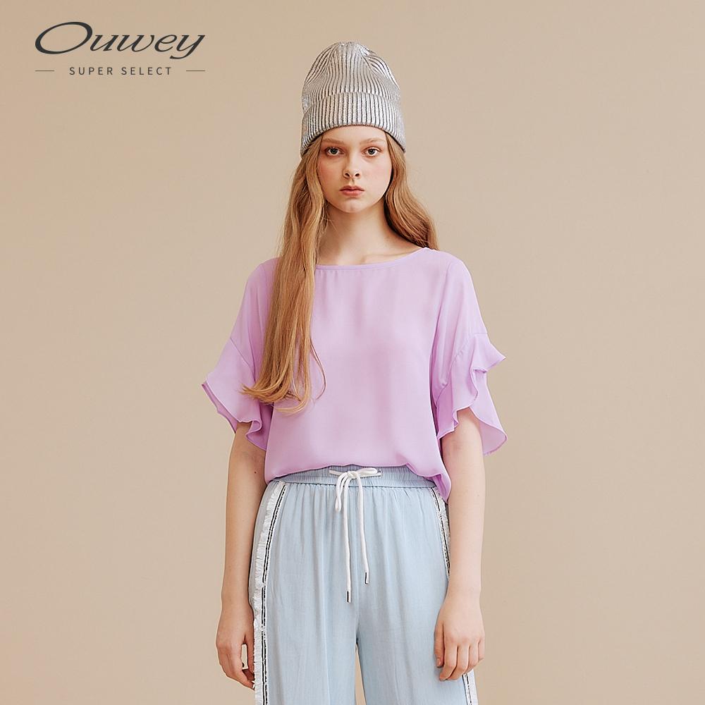 OUWEY歐薇 經典荷葉袖剪裁上衣(紫/黃)