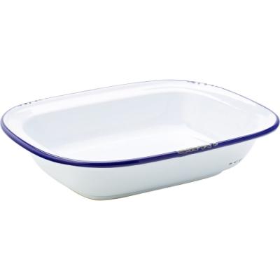 《Utopia》復古長方石陶烤盤(藍24cm)