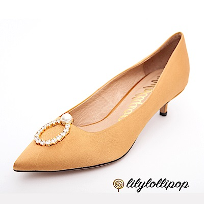 Lilylollipop-Luxury 珍珠環緞面跟鞋--暗金菊色