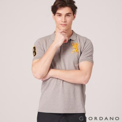GIORDANO 男裝勝利獅王漸層刺繡彈力萊卡POLO衫-46 雪花中灰色