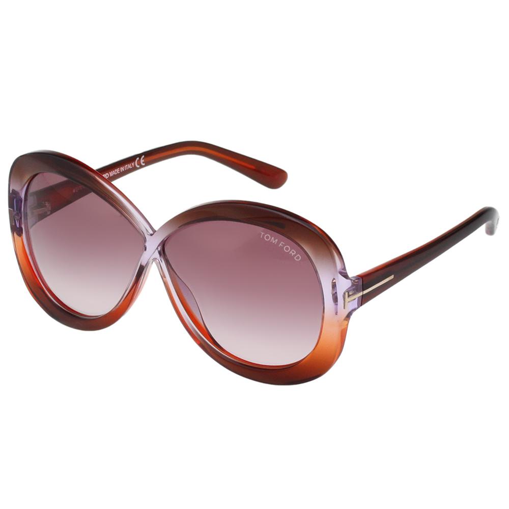 TOM FORD 經典八字 太陽眼鏡-咖啡+粉色-TOM226