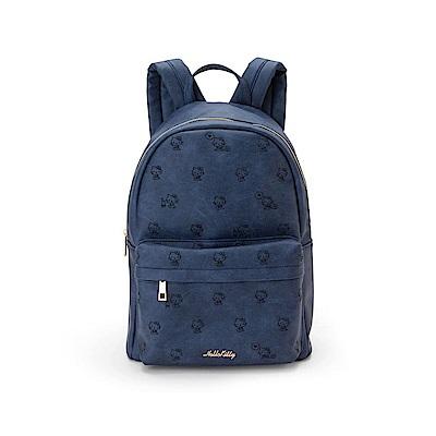 Sanrio HELLO KITTY時尚丹寧風刺繡鑲飾PU皮革後背包(側坐)