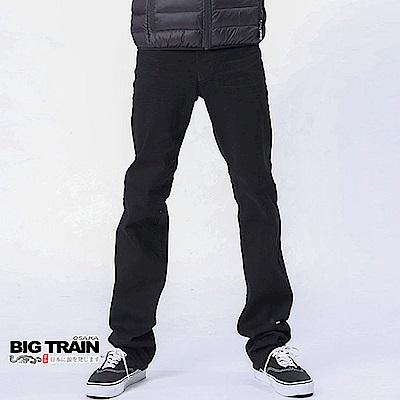 BIG TRAIN 舒適型皮革袋花黑色直筒褲-男-黑色