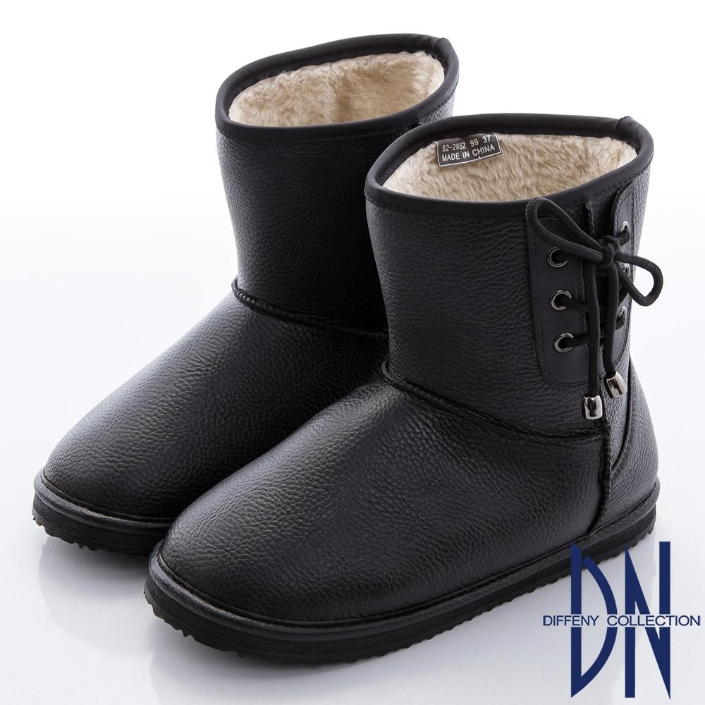 DN 愛上雨天 暖心內刷毛側蝴蝶結雨靴-黑