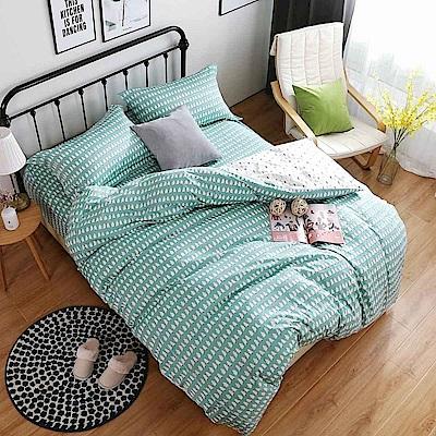 夢工場 貝拉貝果60支紗埃及棉床包兩用被組-加大