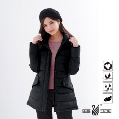【遊遍天下】女款中長版顯瘦防風防潑禦寒羽絨外套GJ22021黑色