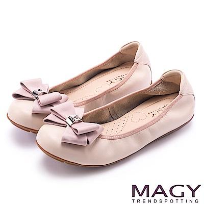 MAGY 甜美舒適 蝴蝶結鬆緊帶牛皮娃娃鞋-粉紅