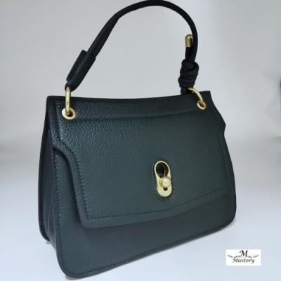 【Misstery】側背包/肩背包進口牛皮搭配超纖女用側背包-綠