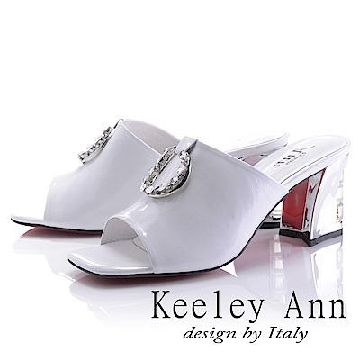 Keeley Ann 天使光環~極淨色彩水鑽圓飾真皮粗中跟拖鞋(白色-Ann)