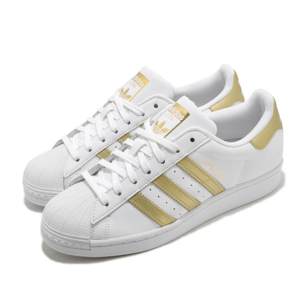 adidas 休閒鞋 Superstar 復古 低筒 女鞋 海外限定 愛迪達 三葉草 貝殼頭 皮革 白 金 FX7483