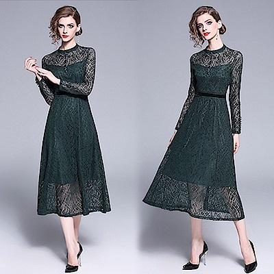 【KEITH-WILL】OL風閃爍蕾絲立領洋裝