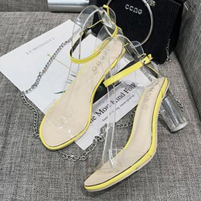 KEITH-WILL時尚鞋館 時尚舒適透明粗跟鞋-黃