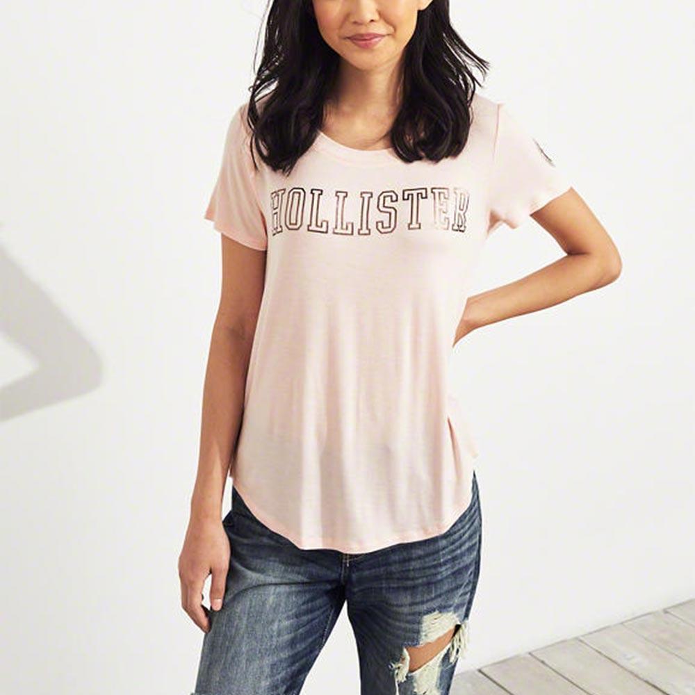 海鷗 Hollister 經典印刷文字短袖T恤(女)-粉色